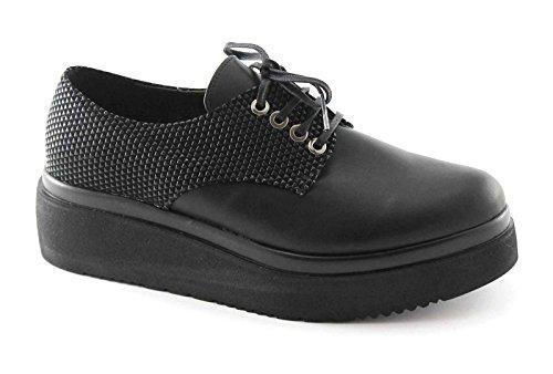 Divine Madness 1160 Schuhe der Schwarzen Frauen Glatt Derby Plattform Schnürsenkel Nero