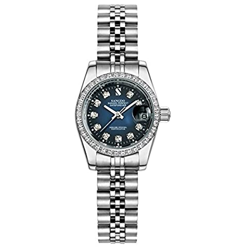 Topwatch® Sangdo Automatische Damenuhr mit Diamant-Steinen, Zifferblatt Blau, Band Silberfarben