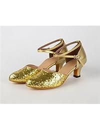Ruanlei shoes Baile Latino Lentejuelas Fondo Suave Moderno Baile de Salón Cuadrado, Oro, 34