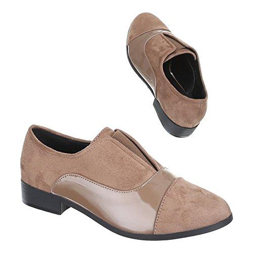 Damen Schuhe, B250L-CS, STIEFELETTEN HALBSCHUHE Hellbraun