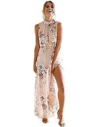 75bca4768341 OYSOHE Damen Vogue Bohemien Kleid, Neueste Frauen Chiffon Blumendruck  Sleeveless Backless beiläufige Boho Strand lange