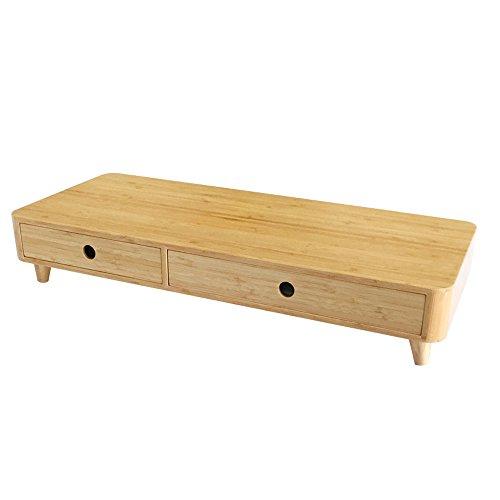 EMMA HOME Support Regal 10.5cm Hohe Bambus Holz Schublade Display Erhöhte Racks Laptop Base Office Desktop Organizer -