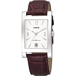 Lorus RXD93CX8 Mens Steel Watch Leather Strap White Dial Date 50 Metres