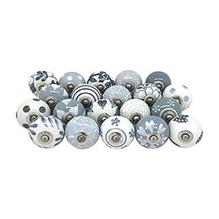 Lot de 20 boutons de tiroir, en céramique, peints à la main.