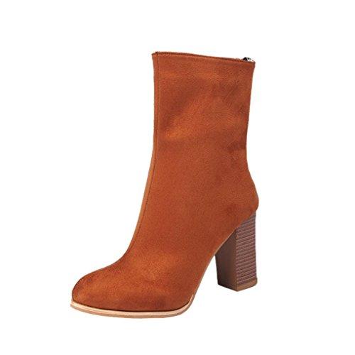 Martin Stiefel Damen Schuhe Sonnena Ankle Boots Frauen Kurzschaft Stiefel Faux Stiefel Knöchel Stiefel High Heels Blockabsatz Boots Reißverschluss Warm Gefütterte Outdoor Schuhe (39, Sexy Gelb) (Short Boot Zip)