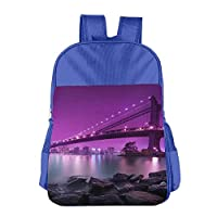 an Honorable Art Bridge School Backpack Children Shoulder Daypack Kid Lunch Tote Bags RoyalBlue