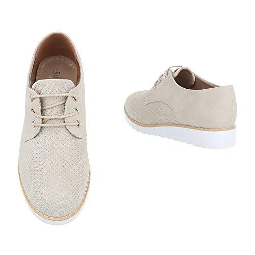 Ital-Design , Chaussures à lacets femme Beige 62023