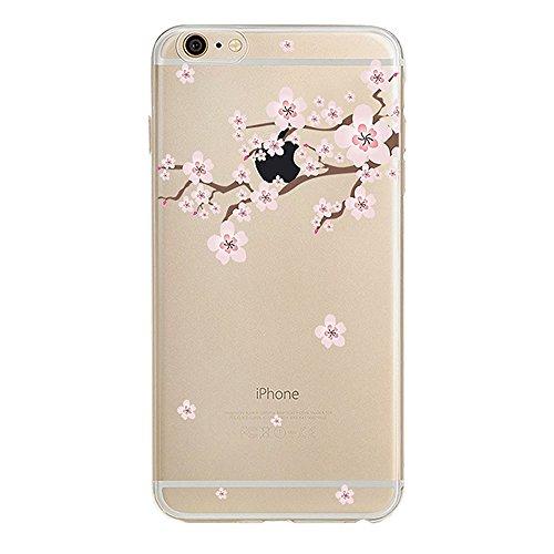 iPhone SE Hülle Silikon,iPhone SE Hülle Transparent,iPhone SE Hülle Glitzer,iPhone 5S Clear TPU Case Hülle Klare Ultradünne Silikon Gel Schutzhülle Durchsichtig Rückschale Etui für iPhone 5,iPhone 5S  G Cherry Blossom 6
