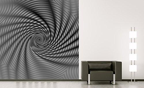 apete - Regenbogenspirale abstrakt - schwarz weiss - 150x150 cm - Tapete mit Kleber – Wandtapete – Poster – Dekoration – Wandbild – Wandposter – Wand – Fotofolie – Bild – Wandbilder - Wanddeko (Schwarz Und Weiß Wirbeln)