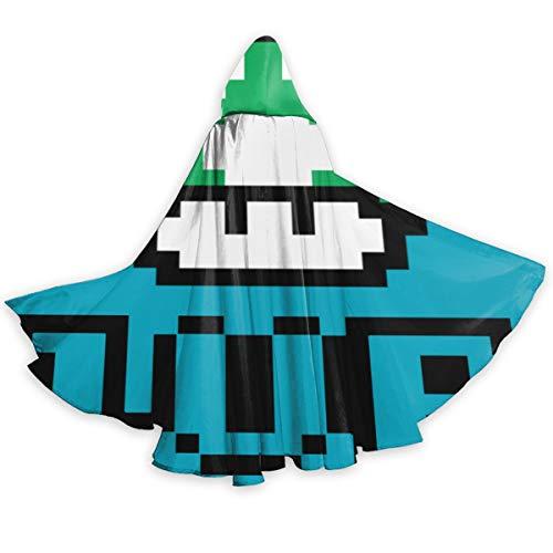 Suixianhaimiaobaihuodian Super Mario Grüner Pilz Kapuzenmantel Langes Cape Für Weihnachten Halloween Cosplay Kostüme 59 Zoll Unisex (Super Mario Star Kostüm)