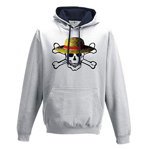 KiarenzaFD Sweat à Capuche Bicolore crâne Chapeau Paille Dessins animés Mode Drapeau Streetwear Homme, Arctic White-French Navy, XXL