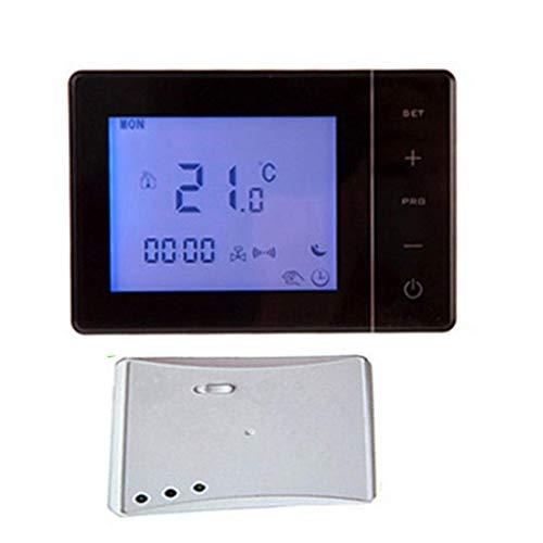 Backbayia WIFI RF Wireless Thermostat und Empfänger LCD Raumregler Temperaturregler (Schwarz) -