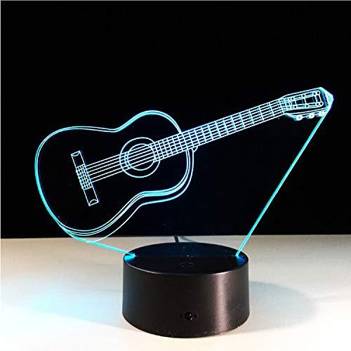 Luz De Guitarra Eléctrica Ilusión Lámpara 3D Led 7 Cambio De Color Usb Sensor De Toque Luz De Escritorio Luz De Noche Luz