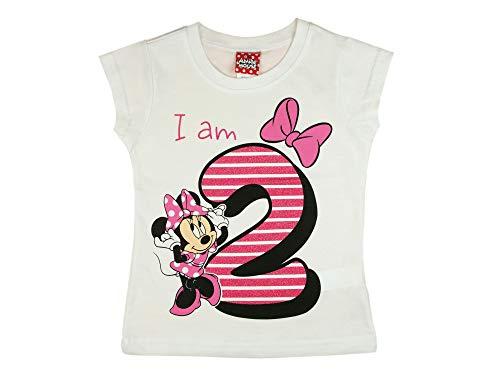 Mädchen Baby Kinder zweiter Geburtstag Kurzarm T-Shirt 2 Jahr Baumwolle Birthday Outfit GRÖSSE 92 Minnie Mouse Disney Design und Glitzer in Weiss oder Rosa Babyshirt Oberteil Farbe Weiss