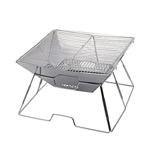 Portable Große Barbecue Grill Edelstahl Holzkohle Raucher Broil BBQ Pit Grill Für Ourdoor Camping Picknicks, Silber, 44 * 45 * 28 Cm