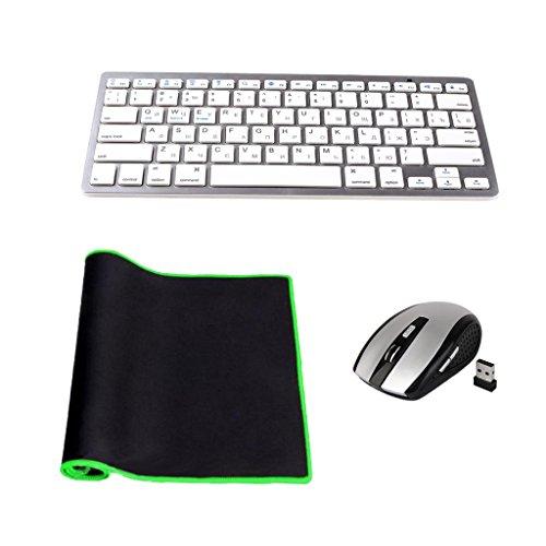 MagiDeal Satz Von QWERTY Drahtlos 2.4G Tastatur & Maus mit USB Empfänger + Maus Pad