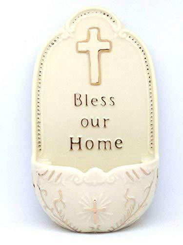 Florentina Sammlung (Porzellan Bless Our Home Medium Weihwasserbecken 18cm Florentiner Sammlung katholischen Geschenk)