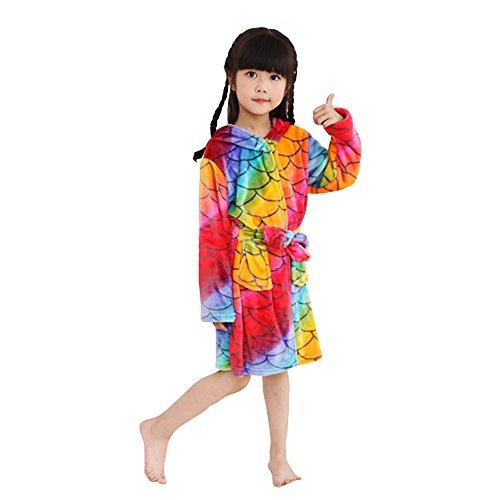 Mystery&Melody Kinder Einhorn Bademantel Flanell Mit Kapuze Süss Schlafanzug Cosplay Kostüme Tiere Ankleiden Unisex (140:130-140cm, Fish ()