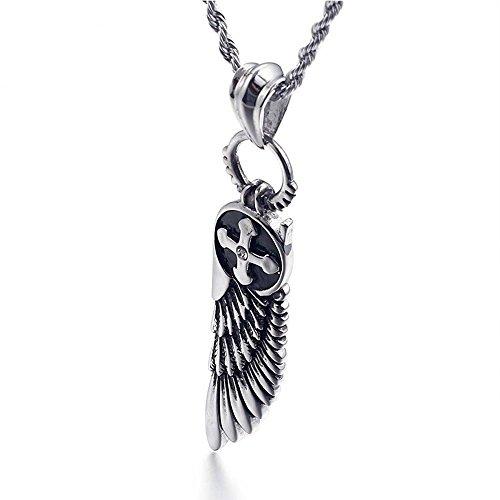 Aoligei Titanium Stahl Halskette Männer Europa und die Vereinigten Staaten Edelstahl Anhänger Engelsflügel Kreuz ()