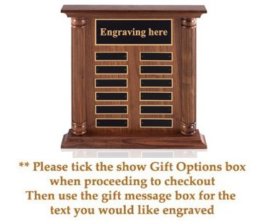 Free-standing American walnut perpetual plaque, 12 x 14 inches