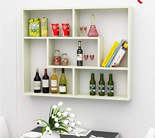 WOSBE Schweberegal Wandregal Holz Zimmer Dekorative Wandregal Weinregal Wohnzimmer Esszimmer Weinschrank Wandbehang Regal mehrschichtige Bücherregal 100 * 20 * 80 cm Weiß Ahorn -