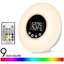 Fitfirst Reloj Despertador Luz LED con Control Remoto 9 Colores Ajustables Simula el Amanecer y Atardecer 10 Niveles de Brillo Reloj de Alarma 51 Sonidos Radio FM Control Táctil