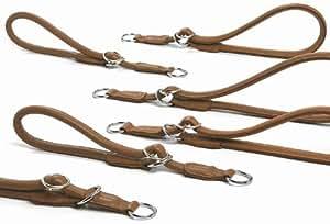 Artic - Collier étrangleur en cuir rond brun clair pour chiens - taille 3