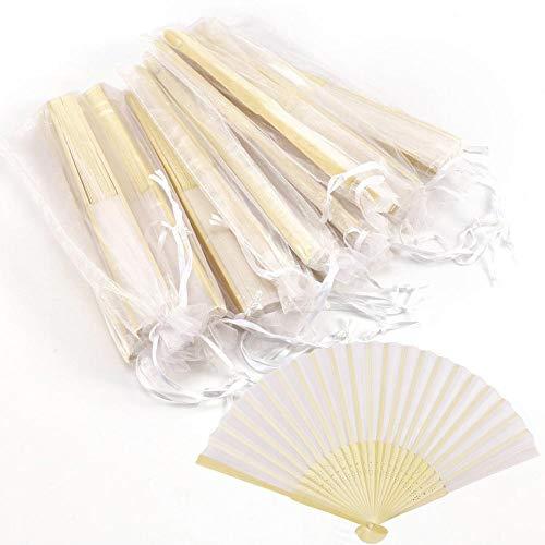 Killysufuy Asiatischer Fächer Handfächer Schlichter Faltfächer Gefalteter Fächer Handventilator aus Bambus und Etamin 10 Stück ()