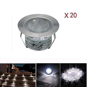 20x lampe de spot led pour terrasse enterr plafonnier ip67 acier inoxydable dc 12v 1w lumi re. Black Bedroom Furniture Sets. Home Design Ideas