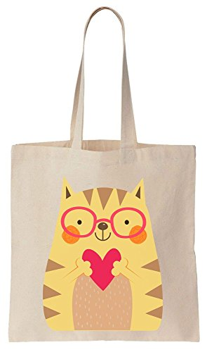 Lovely Cat With Glasses Holding A Heart Tote Bag Baumwoll Segeltuch Einkaufstasche (Tote Oversized Baumwolle)