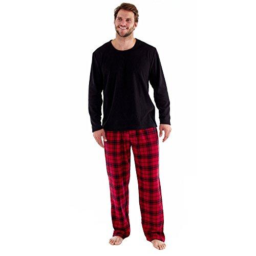 Herren Harvey James Geschenkverpackung Schlafanzüge Fleece Top Karo Flanell Hose - Rot, Medium -