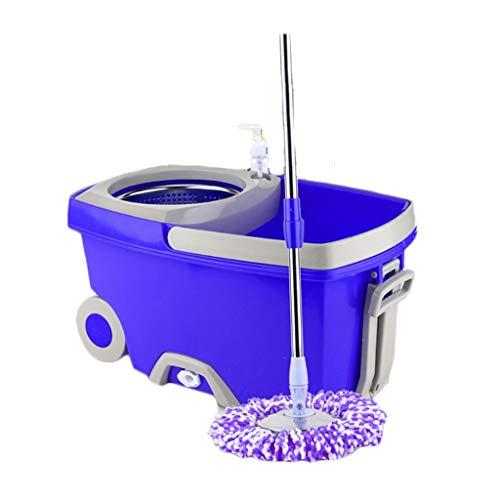 Acero Inoxidable Microfibra giratoria 360 de Cubo y fregona Kit de Limpieza de Suelos Manos Libres Los Productos Que la combinación del hogar giratoria del Cubo de la fregona (Color : Purple)
