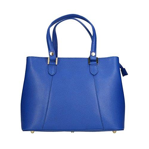 Chicca Borse Borsa a tracolla in pelle 30x22x14 100% Genuine Leather Blue