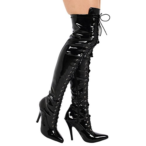 ByPublicDemand Destiny Femme Talons hauts talon aiguille cuissarde - - Black Patent (11720)