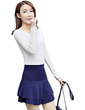 XFentech Transpirable falda corta de cintura alta de mujer falda corta de doble dobladillo, Azul oscuro/2XL