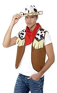 Smiffys-45234 Cow Boy Kit instantáneo del Salvaje Oeste, Hombre, con Chaleco, pañuelo de Cuello y Gorro, Color marrón, Tamaño único (Smiffy