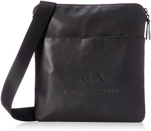 Armani Exchange Herren Medium Flat Crossbody Bag Business Tasche, Schwarz (Black/Gun Metal), 30x10x42 cm