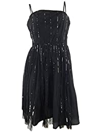 Next Black Sequinned & Net Dress with Narrow Straps