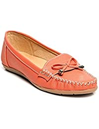 Bare Soles Women Trendy Loafers Orange Faux Leather Slip On