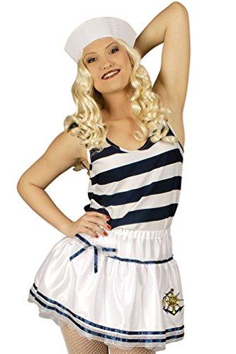 Karneval-Klamotten Matrosin Kostüm Damen sexy Matrose Matrosen Kostüm Rock Petticoat weiß-blau-Gold Karneval Größe 40/42
