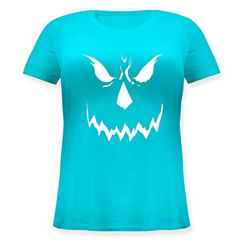 Halloween - Scary Smile Halloween Kostüm - M (46) - Hellblau - JHK601 - Lockeres Damen-Shirt in großen Größen mit Rundhalsausschnitt
