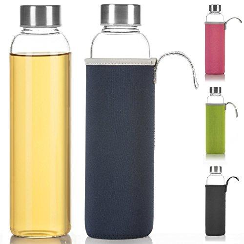 Dimono Classic Trinkflasche aus Glas 600ml - Sport Glasflasche Wasser-Flasche; bruchsicher mit isolierender Nylon Thermo-Hülle - Blau (Flasche Wasser Glas)