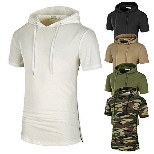 ZhiYuanAN Herren Sommer Mode Hoodie Kurzarm Trainingsshirt Normallack Mit Kapuze T-Shirt Figurbetont Casual Tee Shirt Weiß