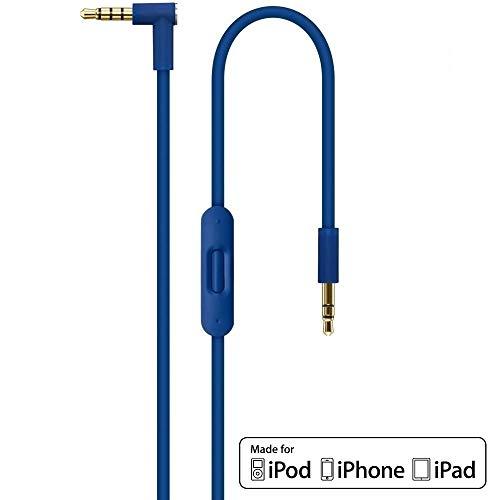 Ersatz Blau Audio AUX Kabel Verlängerungskabel für Beats by Dr Dre / Monster Kopfhörer mit Inline-Mikrofon Studio | Solo | Wireless | Pro | Mixr - Lautstärkeregler, und Anrufannahme iPhone -3,5mm 1.4m