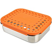 LunchBots Duo Stainless Steel 2 Section Snack Container, Stainless Steel Lid, Orange Dots Cover by LunchBots