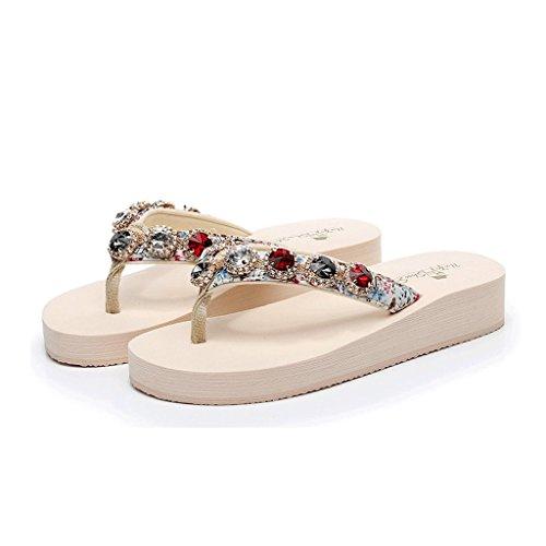 Pantoufles Tongs Femme Été Porter des Chaussures de Mode Pincée Pantoufles à Semelles épaisses