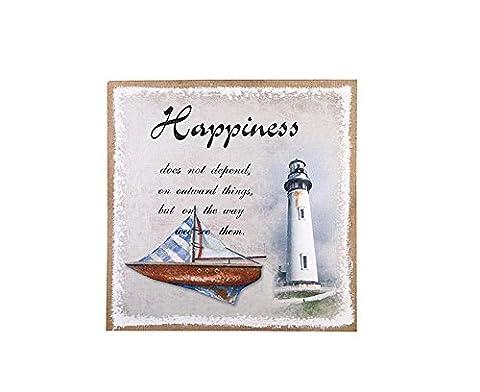 Xiuxiandianju Creative Retro Nostalgia Lighthouse Yacht Hanging Pictures Linen Paint