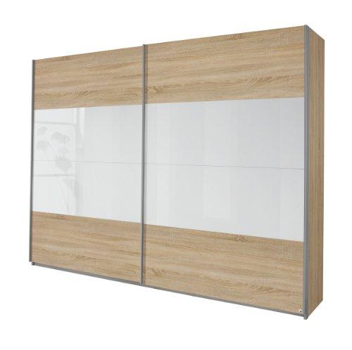 Rauch Schwebetürenschrank 2-türig Eiche Sonoma, Glaspaneele Weiß, BxHxT 226x210x62 cm
