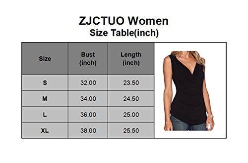 ZJCTUO Damen V-Ausschnitt Ärmellos Wickelshirt Asymmetrisch Stretch Basic Shirt Tunika Obertail Grau
