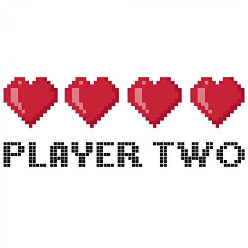 Fashionalarm Herren T-Shirt - 8 Bit Player Two | Fun Shirt als Geschenk Idee für Gamer & verliebte Paare zum Valentinstag Jahrestag Weiß
